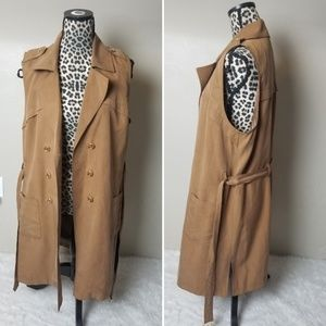 Chico's tan long vest jacket duster belted 2 Small